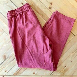 NWOT J. Crew Linen Cotton Ankle Jogger Pink
